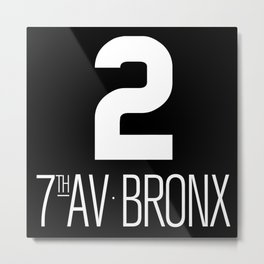 NY vintage subway car signage #2 7th Ave Bronx line Metal Print