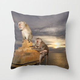 The Temple of the Monkeys Throw Pillow