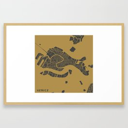 Venice map ocher Framed Art Print