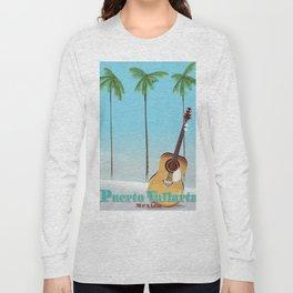 Puerto Vallarta Mexico travel poster art. Long Sleeve T-shirt