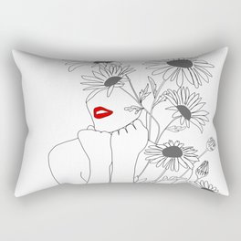 Minimal Line Art Girl with Sunflowers Rectangular Pillow