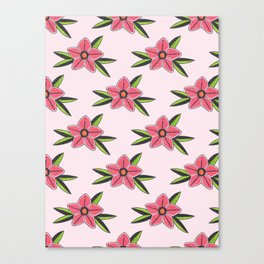 Old school tattoo flower pattern in pink Canvas Print