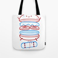 street Tote Bags featuring Street burger  by SpazioC