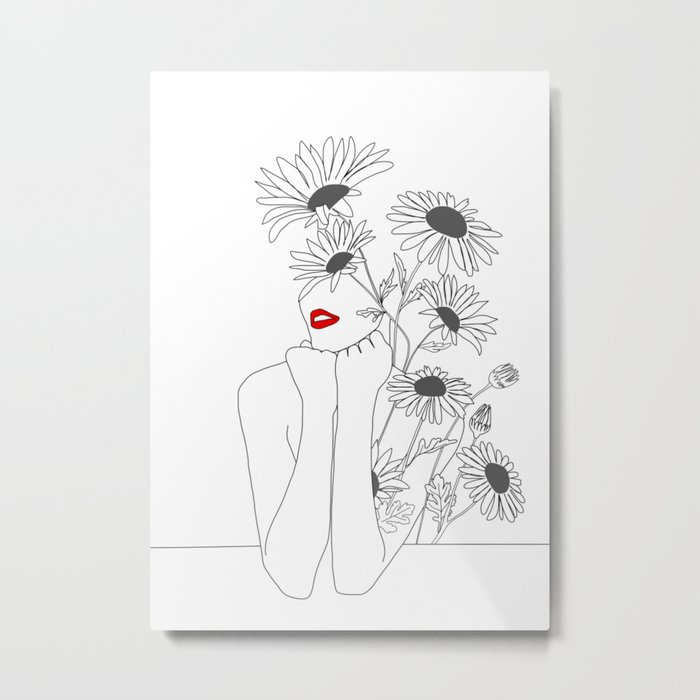 Minimal Line Art Girl with Sunflowers Metal Print