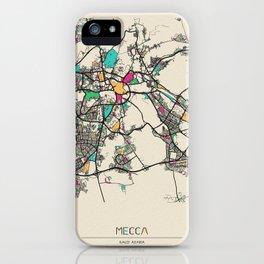 Colorful City Maps: Mecca, Saudi Arabia iPhone Case