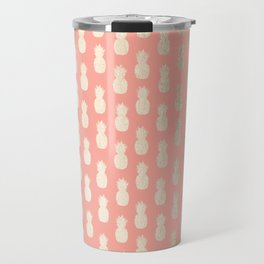 Gold Pineapples on Coral Pink Travel Mug