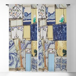 Broken ceramic tiles patchwork Blackout Curtain