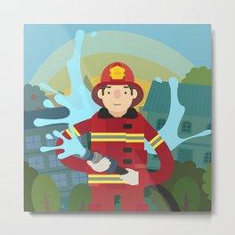Firefighter Metal Print
