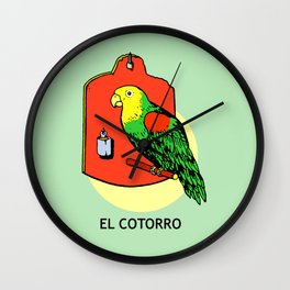 El Cotorro Mexican Loteria Card Wall Clock