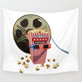 3D Movie Reel and Buttered Popcorn Wall Tapestry