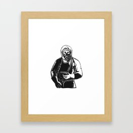 EMT Wearing Hazmat Suit Scratchboard Framed Art Print