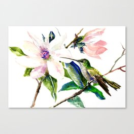 Hummingbird and Magnolia Flowers, Green Soft Pink floral design vintage style Canvas Print