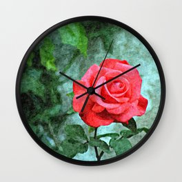 Red Rose on Green Background Wall Clock