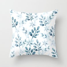 Watercolor Floral Pattern (Winter Version) Throw Pillow
