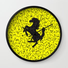 Yellow Homage To Ferrari Wall Clock