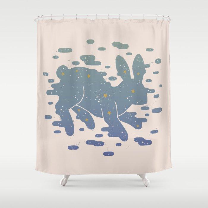 Lepus Constellation Pastel Shower Curtain
