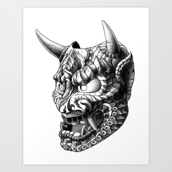 Japanese Demon Mask v.1 Art Print