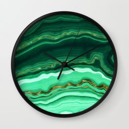 Gold And Malachite Marble Wall Clock