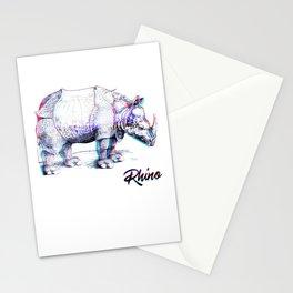 Rhino Glitch   Digital Art Stationery Cards