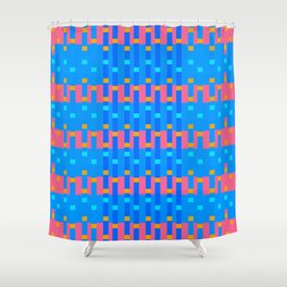 Blue & Coral Pixel Party Shower Curtain
