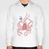 kraken Hoodies featuring Kraken by Andrew Henry
