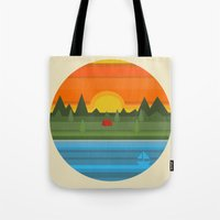 camping Tote Bags featuring Camping by Becky Gibson