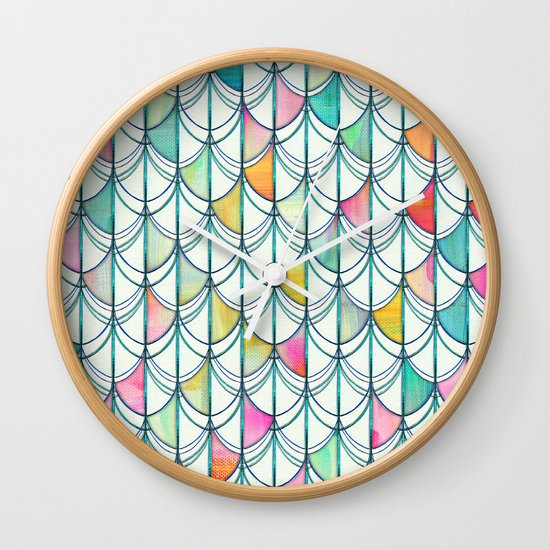 Pencil & Paint Fish Scale Cutout Pattern - white, teal, yellow & pink Wall Clock