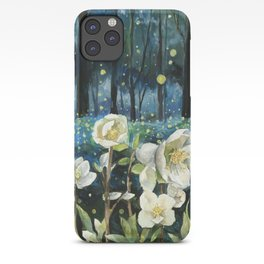 Magical Forest at Night, Fireflies and Helleborus iPhone Case