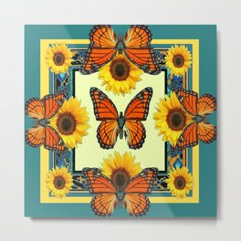 Teal & Orange Monarch Butterflies  Sunflower Patterns Art Metal Print