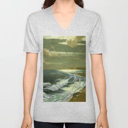 Moonlit Breaking Waves Along Dunes and Seashore with Lighthouse landscape painting by Julius Olsson Unisex V-Neck