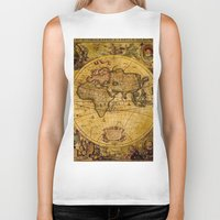 vintage map Biker Tanks featuring VintaGe Map by ''CVogiatzi.