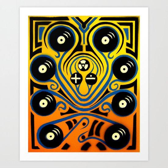 DJ Octopus in blue Art Print