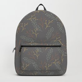 Floral Pattern in Dark Grey, Orange and Yellow Backpack