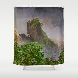 Rock showing in the waterfall Shower Curtain