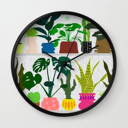 Plants on the Shelf in Gray + White Wood Wall Clock