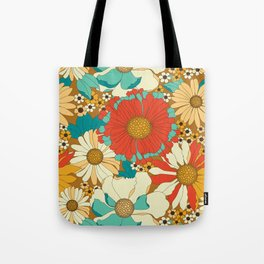 Red, Orange, Turquoise & Brown Retro Floral Pattern Tote Bag