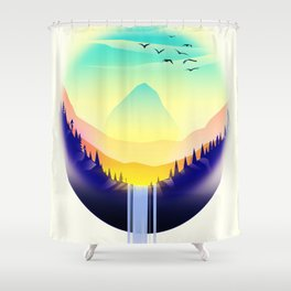 Landscape waterfall orb Shower Curtain