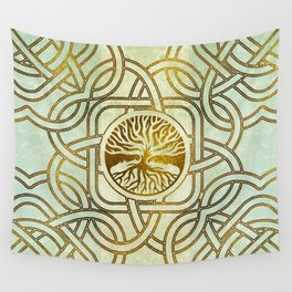 Golden Tree of life  -Yggdrasil on vintage paper Wall Tapestry