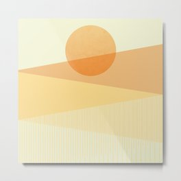 Abstraction_SUNNY_DAY_YELLOW_SUNSHINE_LINE_POP_ART_M0129A Metal Print