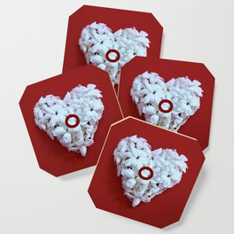 Red Monogrammed Heart O Coaster