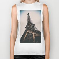 eiffel tower Biker Tanks featuring Eiffel Tower by Christine Workman