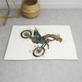 Girl Motocross Dirt Bike Colorful Watercolor Supercross Art Rug