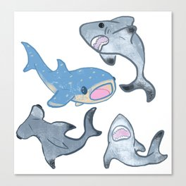 Cute Shark Pattern Canvas Print