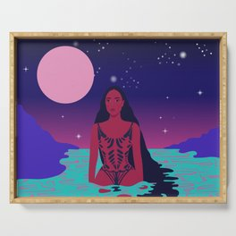 Galactica // Space, Galaxy, Pink, Purple, Water, Woman Serving Tray