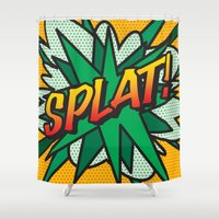 comic book Shower Curtains featuring Comic Book SPLAT! by Thisisnotme