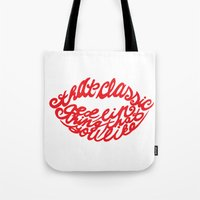 lip Tote Bags featuring Red lip by saralucasi