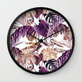 Purple Palm Wall Clock