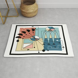 Colorful Mid Century Geometric Abstract Rug