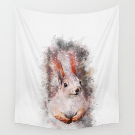 Red Squirrel Watercolor Wall Tapestry