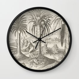 Vintage Palm Tree Art - Java Indonesia Wall Clock